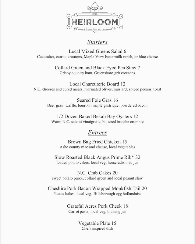 New Years Menu!  Join us tonight to close out 2018, our Famous Prime Rib is on menu, along with some amazing dishes chef came up with for the special occasion.  A few reservations remain for this evening, call 336-322-3300 to get a table.  #heirloomroxnc #newyears #explorenc #visitnc