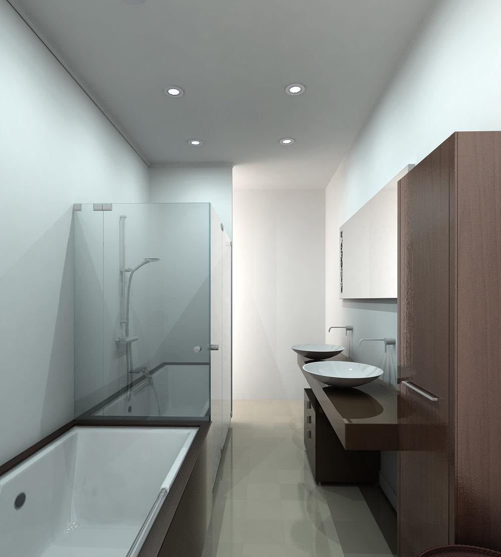 Modern bathroom rendering