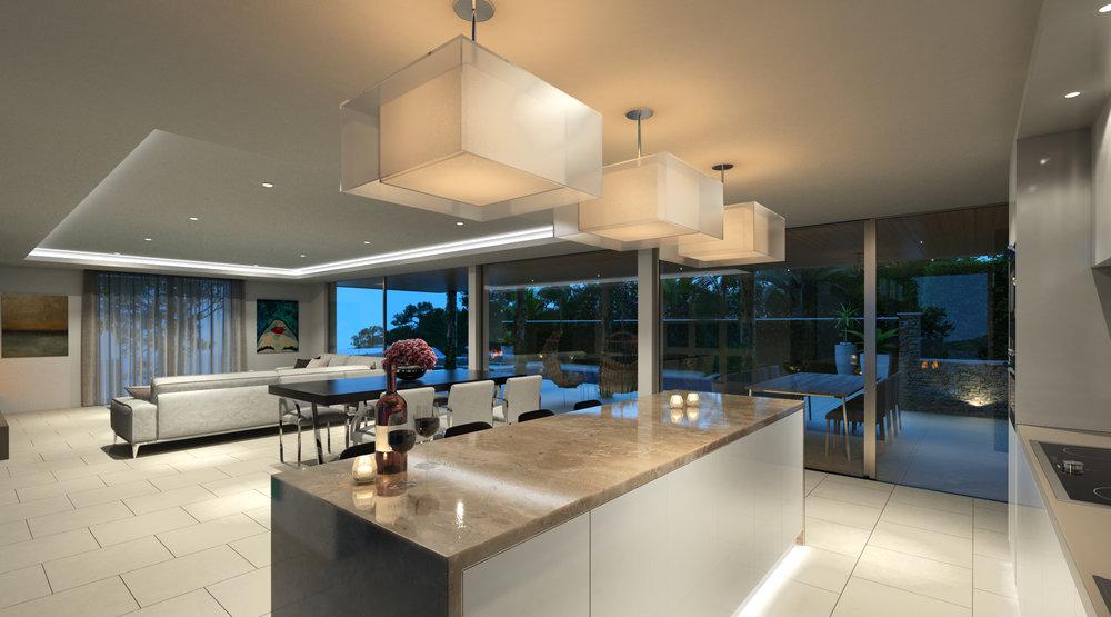 Kitchen Rendering Modern Villa
