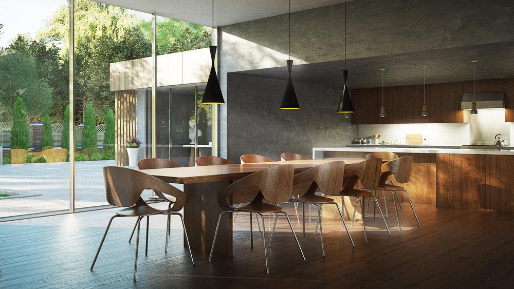 Wood dining rendering