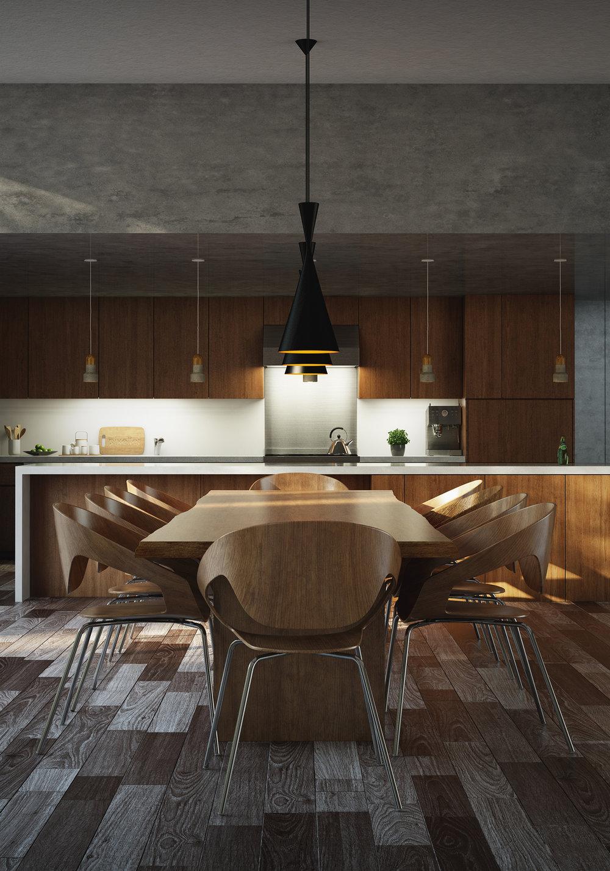 Wood Kitchen Rendering