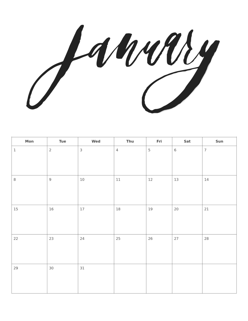 2018 Calligraphy Calendar January