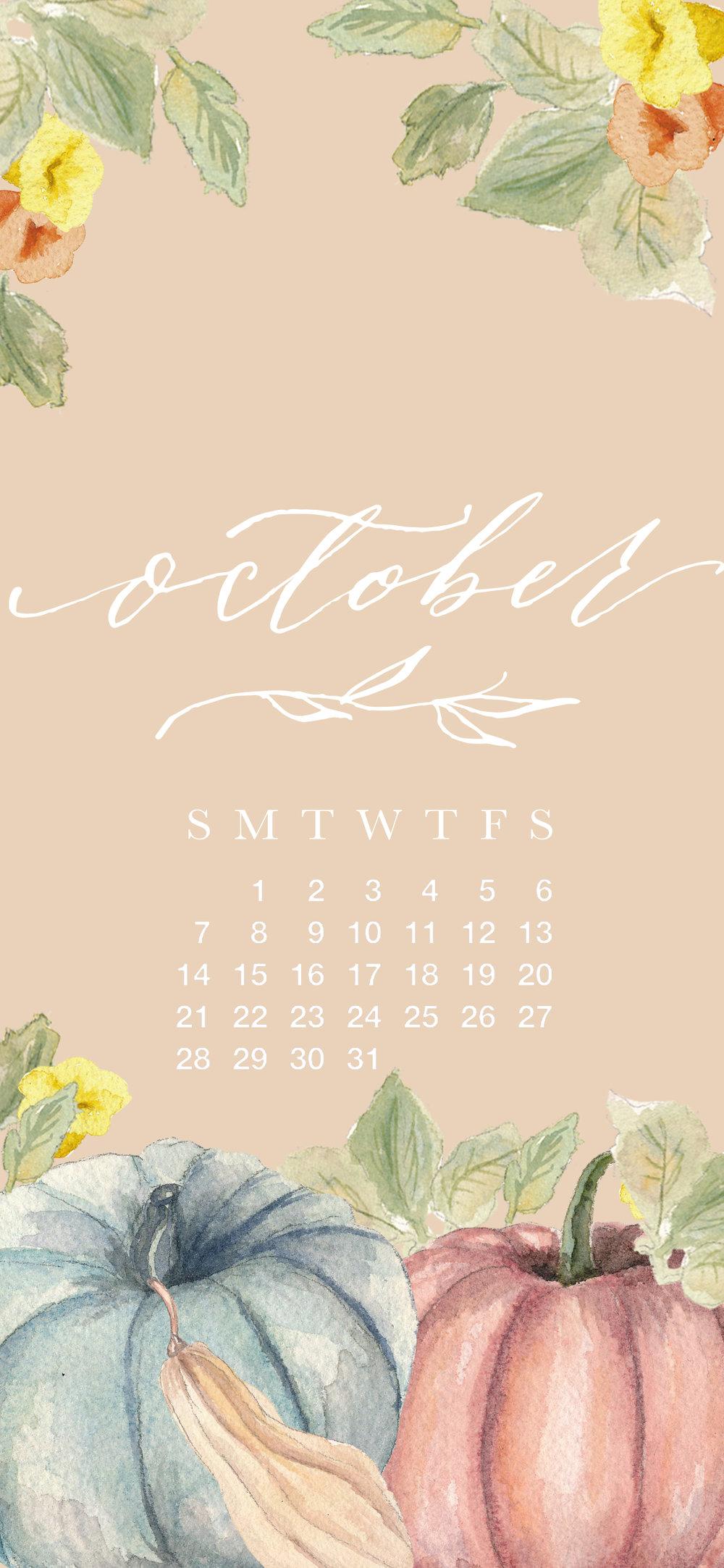 Free October 2018 Desktop and iPhone Calendar Download