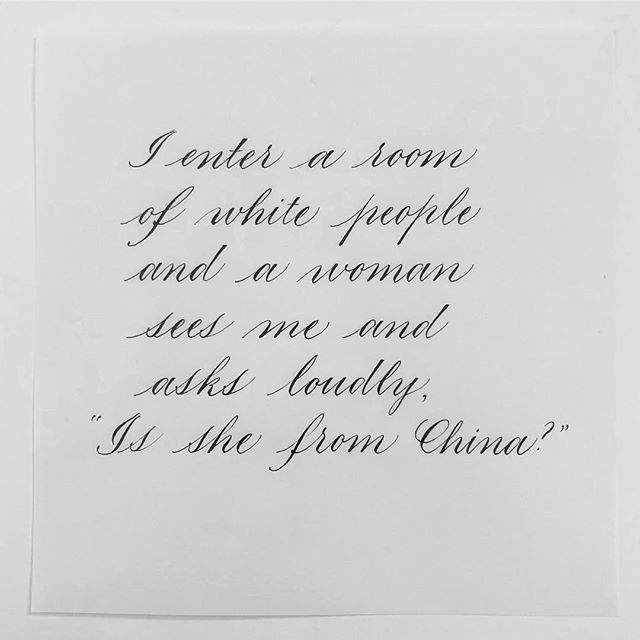 "Crane No.29 (a) ""I enter a room of white people and a woman sees me and asks loudly, 'Is she from China?'"" #craneproject29 #craneaside"
