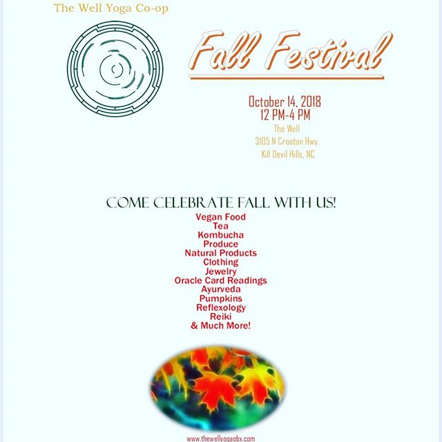 Come join us today at the Well from 12-4 for our Fall Festival.  There will be something for everyone 🍁🍂🍃 #obxbalance #thewellyoga #bewell #familyfun
