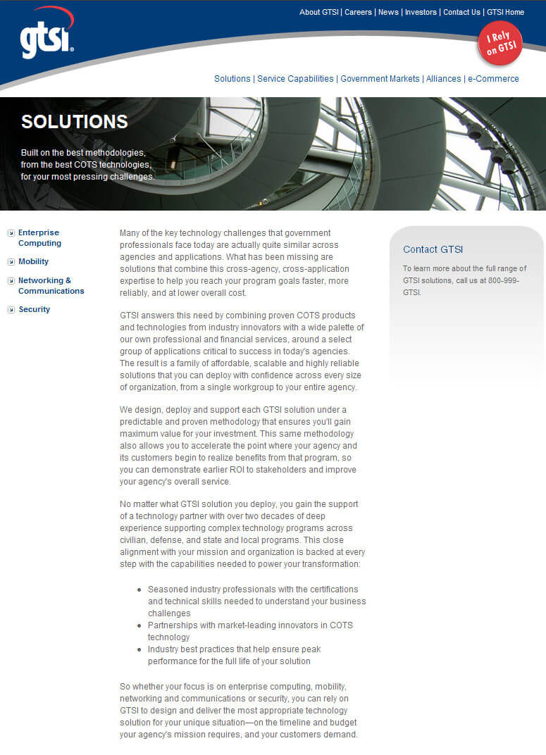 Main Solutions page