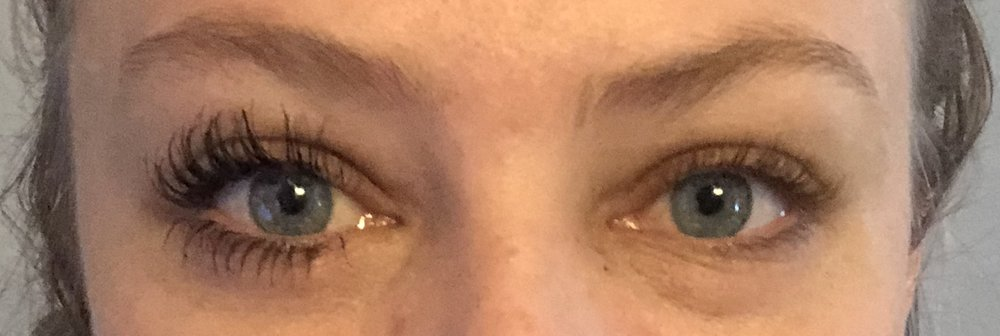 Two months after using lash boost, one eye with mascara, one without.