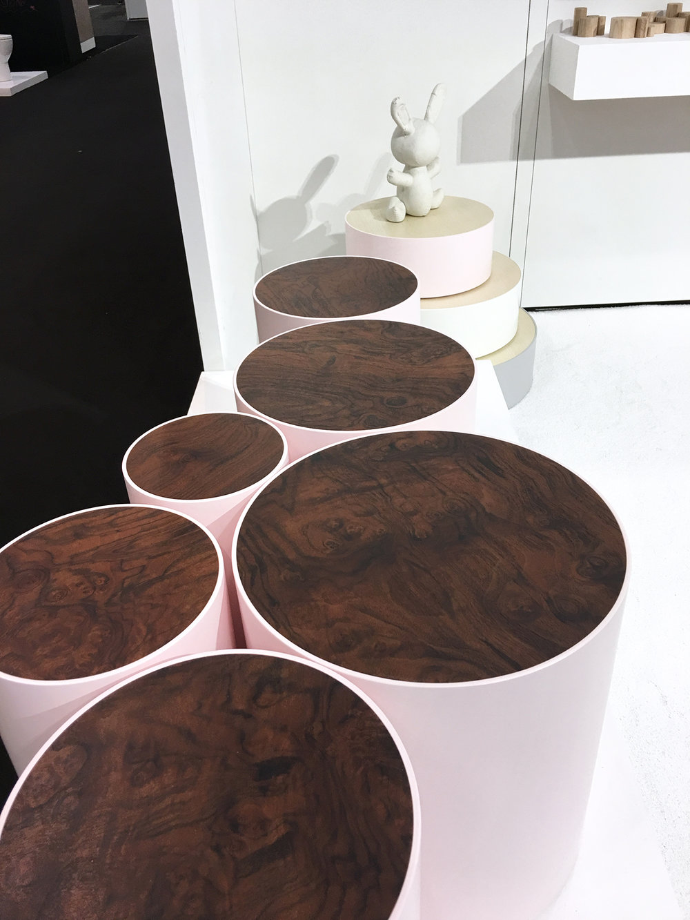 Nail Inlay Drum Tables by Sandback.