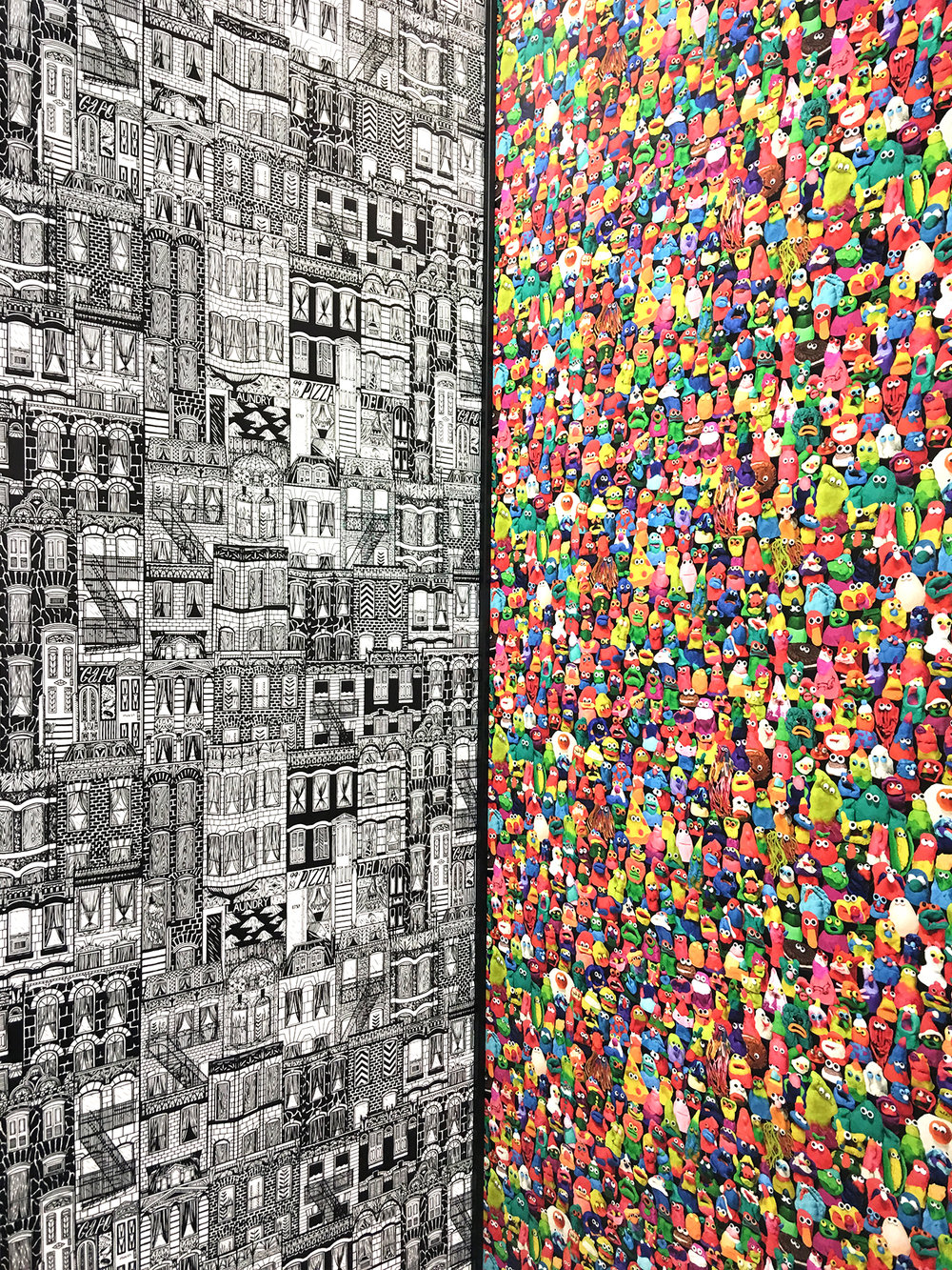 Wallpaper. On the right by Jon Burgerman. All the characters are made out of Play-Doh and then photographed.