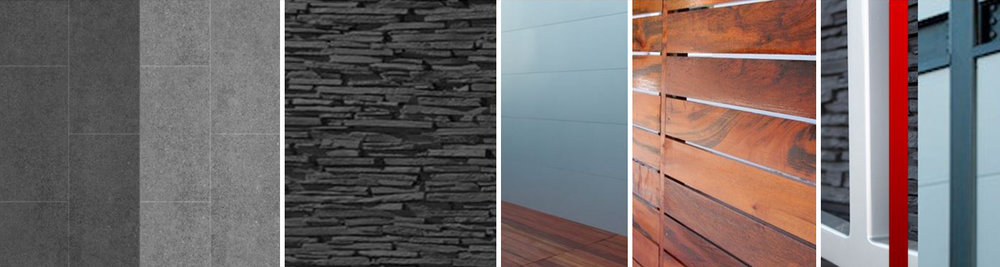 Concrete Tiles 12' x 24', Decorative Stone, Exterior/Interior Wall Cladding, Wood, Metal, Paint (silver, charcoal, red)