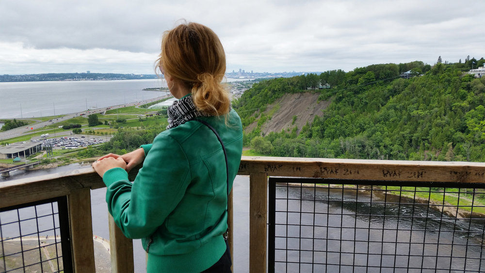 Enjoying the view of the waterfalls, Quebec, Canada