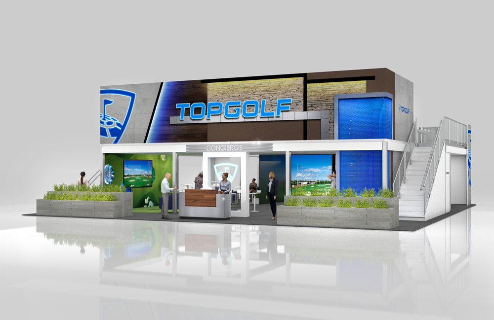 Main Entrance into the booth.  Large 2D graphics imitate the dimensional facade of the TopGolf buildings.