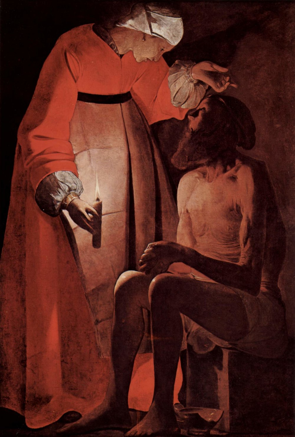 """Job Mocked by His Wife"" - George La Tour - 1650 While Job is sitting in ashes mourning and scraping his sores with a potsherd, his wife comes and tells him to curse God and die. It IS a low point for their marriage. He tells her ""Should we accept good from God, and not trouble?"" The story doesn't tell us what she said next. She was probably upset that all ten of her children had just died. Again, the text is silent about this. It does say that they had ten more children later on."