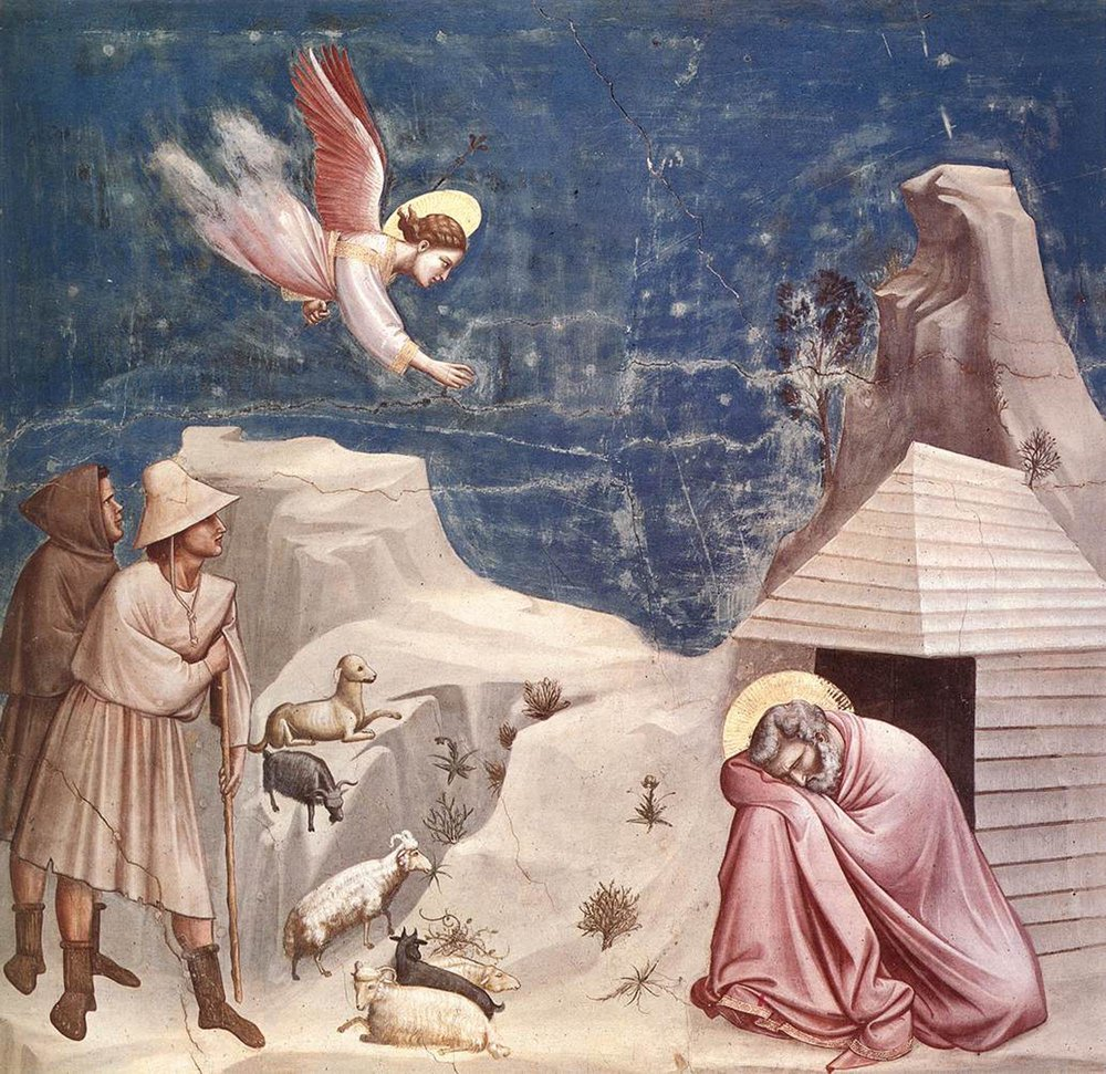 """The Dream of Joachim"" - Giotto - 1305 I love that the perspective here is all messed, and this painting has no real focal point. It's a visual analog to those songs by Satie or Debussy that never rest on any tonal center. Do you know what I mean? ALSO, look at that skinny little dog. Ha."