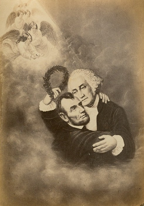 """The Apotheosis of Abraham Lincoln into the Arms of George Washington"" - Unknown Artist - circa 1865"