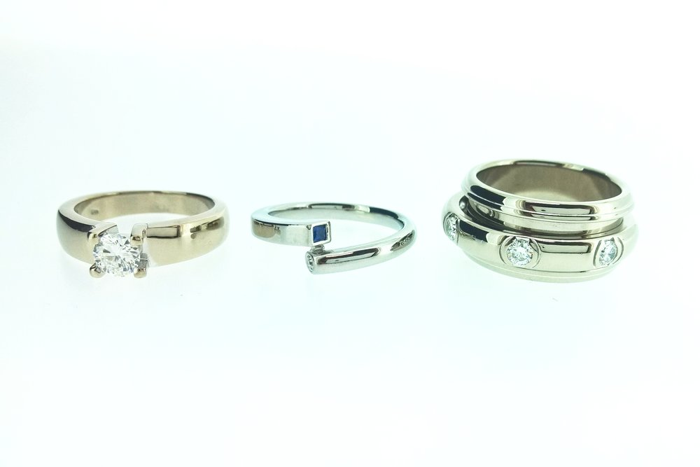 image 2  Left ring 18kt white gold, middle ring Argen 19kt white gold, right ring 18kt palladium white gold.
