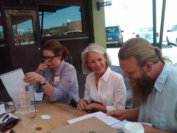 Working on Linda's book & website project with Mary Holden and Linda Heart at Lux Central in Phoenix