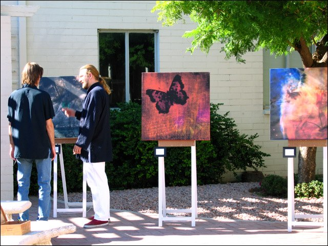At Threading Tales art show with art from 600x600 series