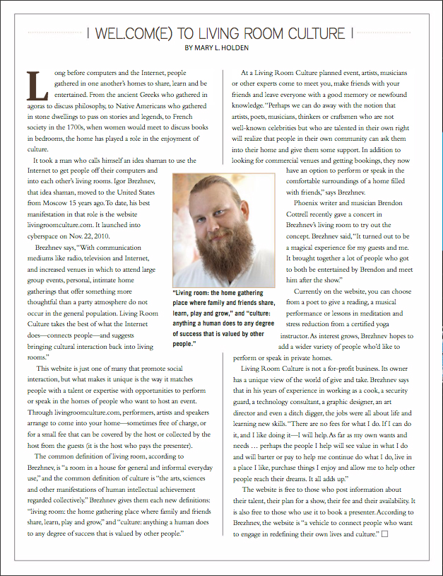 Article by Mary Holden in Winter 2011 issue of MyTekLife magazine about Living Room Culture