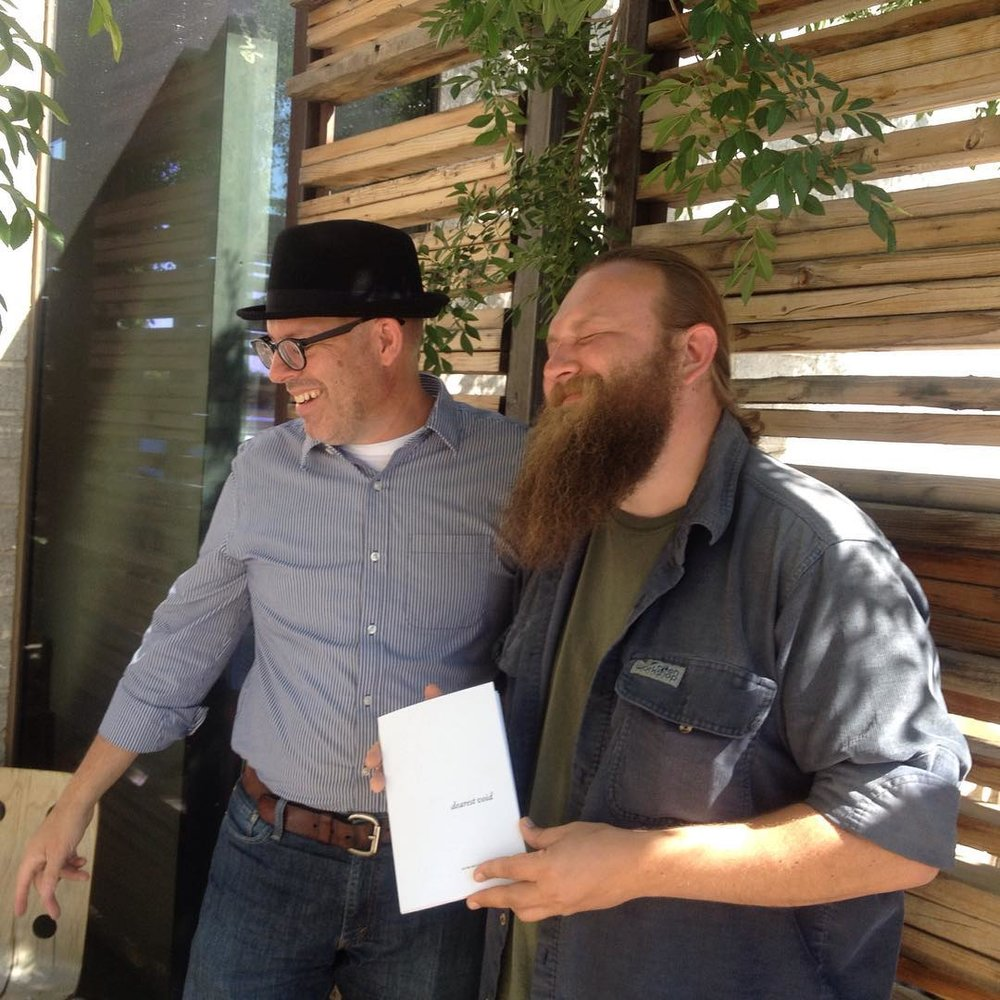 With Joey Robert Parks, holding the first copy of dearest void.