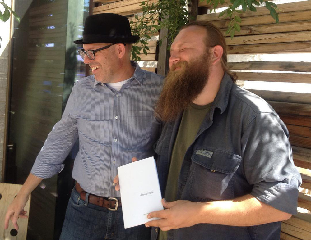 Igor & Joey Robert Parks of  Liquid Gravity Publishing  shortly after receiving copies of  dearest void  from  Impact Printing