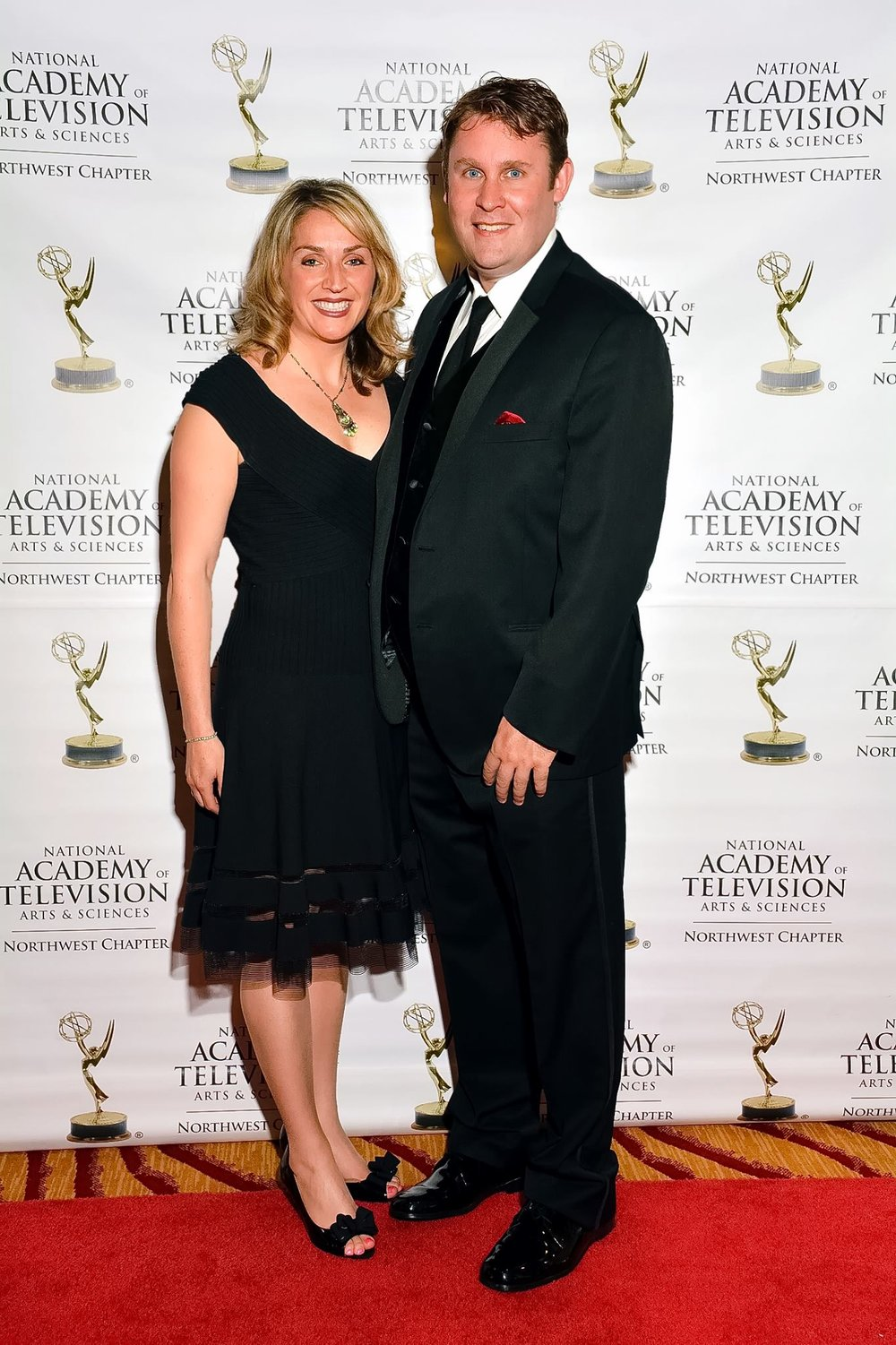 Laura and Clay Butcher on the red carpet at the 2013 Northwest Emmy awards in Seattle, Washington.