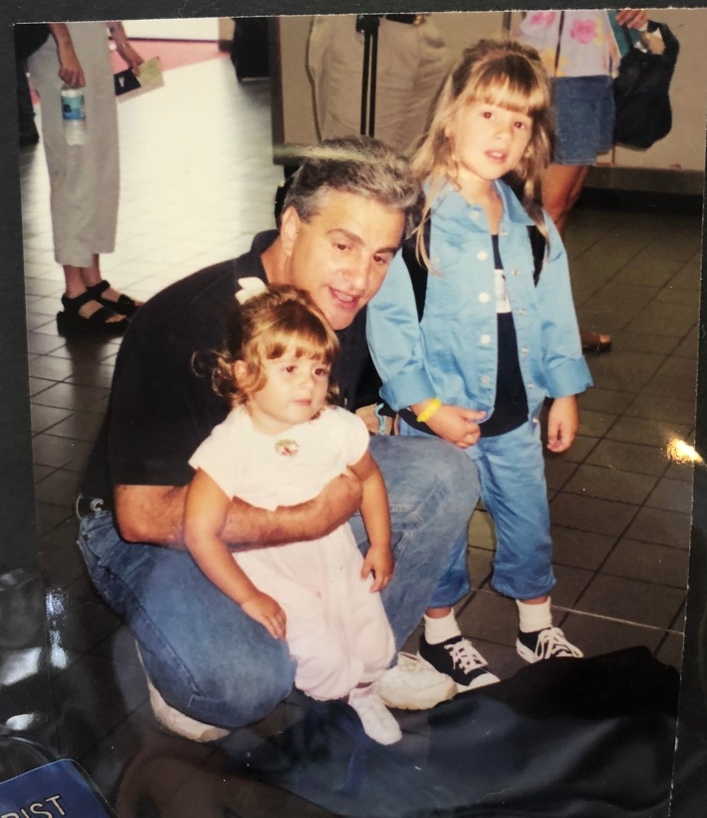 Ca. 1999; (L-R) my sister, my pops, and I. Although my crushing anxiety kept me from talking to people, no one could rock the 90s bangs or the denim-on-denim better than I could! If only I had known…
