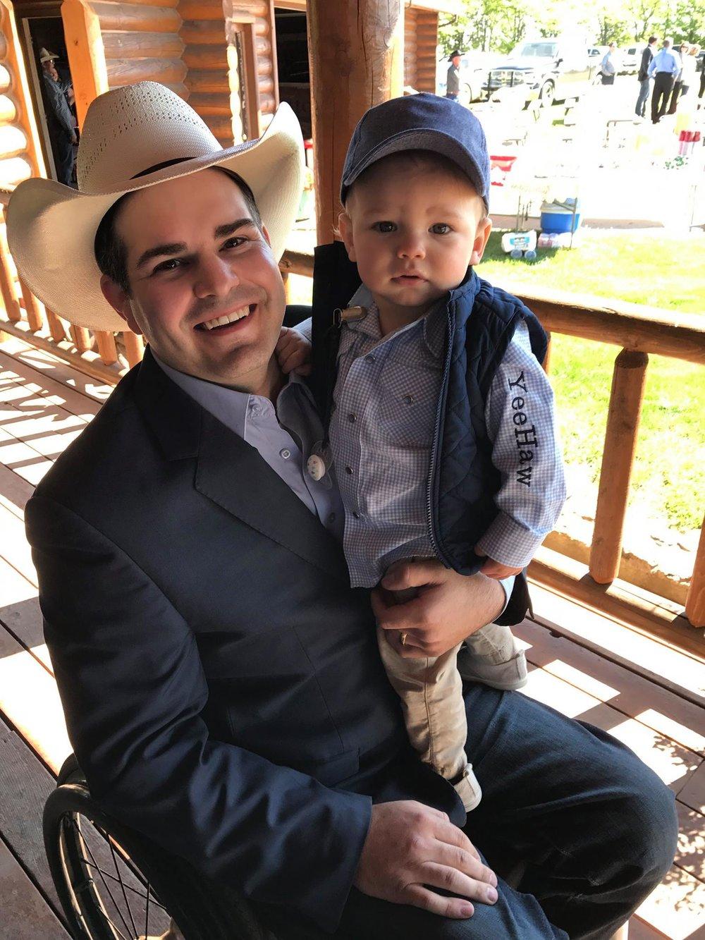 Senator Sutton with son Liam.