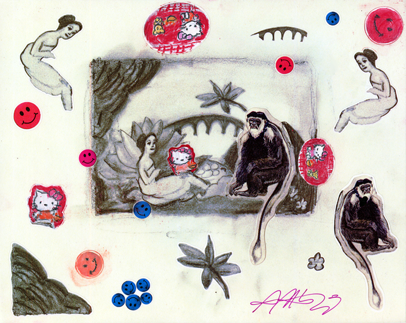 Copy of Laurencin's Monkey Sticker Sheet (after Marie Laurencin)