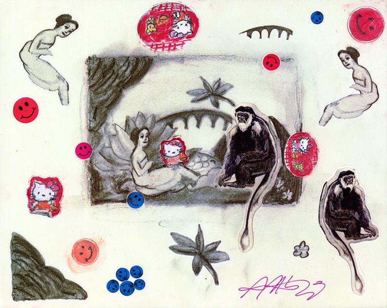 Copy of Laurencin's Monkey Sticker Sheet (after Marie Laurencin)