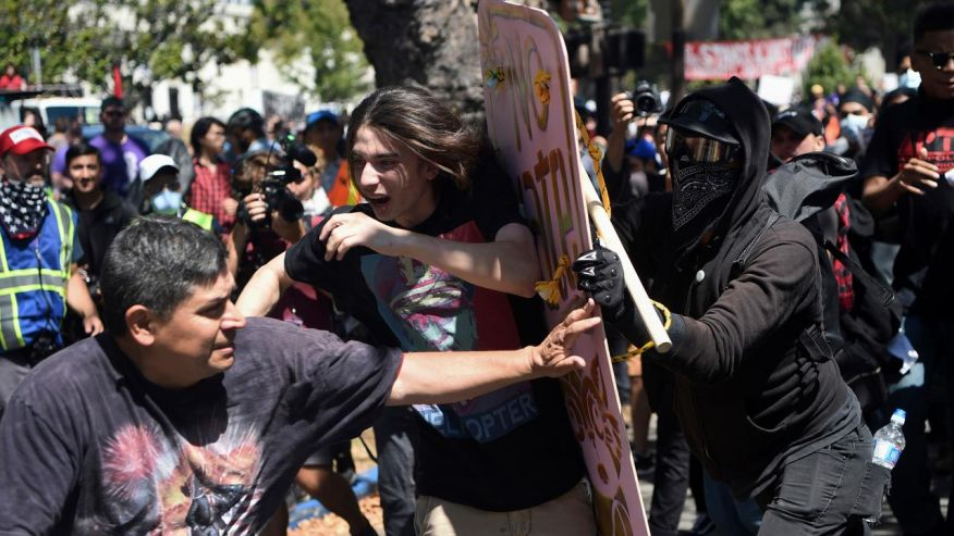 Violent ANTIFA Protesters takeover August 27th 2017 Berkeley free speech rally.
