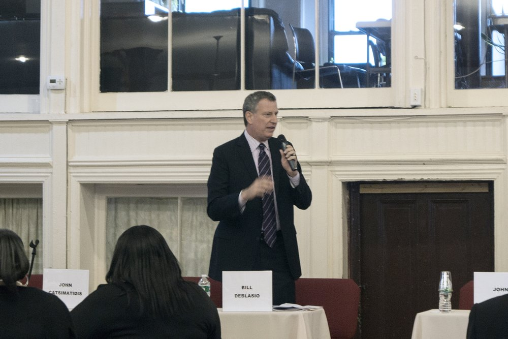 Then-candidate Bill DeBlasio speaking at the Second Legislative Forum.