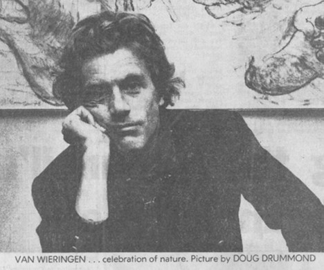 - Ian Van WieringenIan Van Wieringen was born in Scheveningen, the Netherlands and arrived in Australia as a child. After studying fine art at the University of Sydney, he associated, collaborated and exhibited with contemporaries Brett Whiteley, John Olsen, John Firth Smith & Donald Friend, whose influence on a young Van Wieringen is evident. He moved to Bali in 1969, and still lives and works there.He has completed large public commissions worldwide, including Singapore, Melbourne, Antwerp, London, Chicago, Venice, & Los Angeles. His works are represented in several important private collections, including works owned by Queen Fabiola of Belgium, Sultan of Brunei, Richard Branson, Clint Eastwood and John Illsley (Dire Straits). Publicly he is represented in the Art Gallery of NSW.