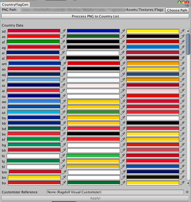 (example of extracted flag colors, using a Unity Editor window UI)