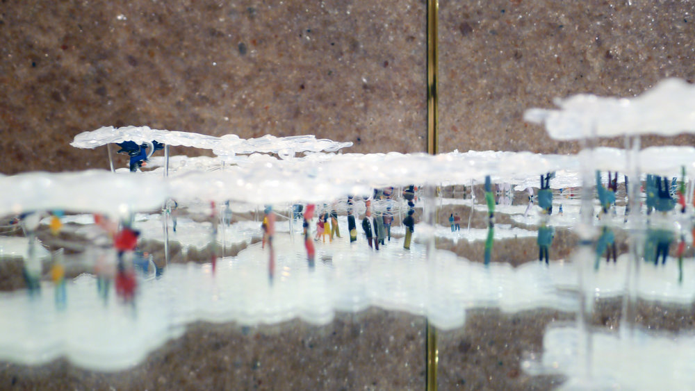 Hang Upside Down on A Cloud 2 / 2012 / Hot bond stick, Plastic, Mirror / 30x30x5 cm