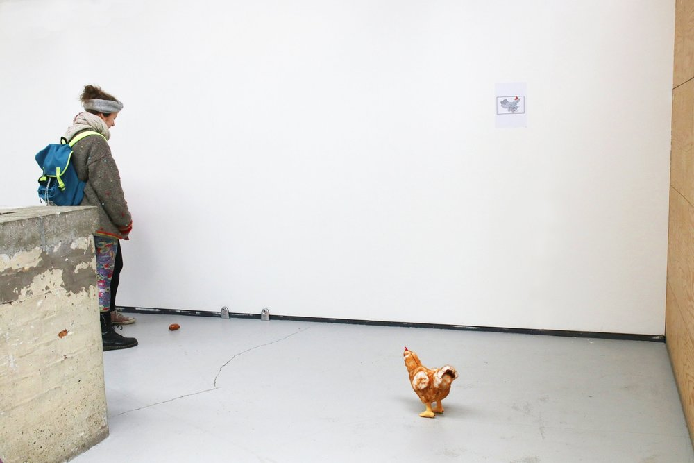Invisible line between you and me/2018 / infrared alarm, sweet potato and chicken toy, map