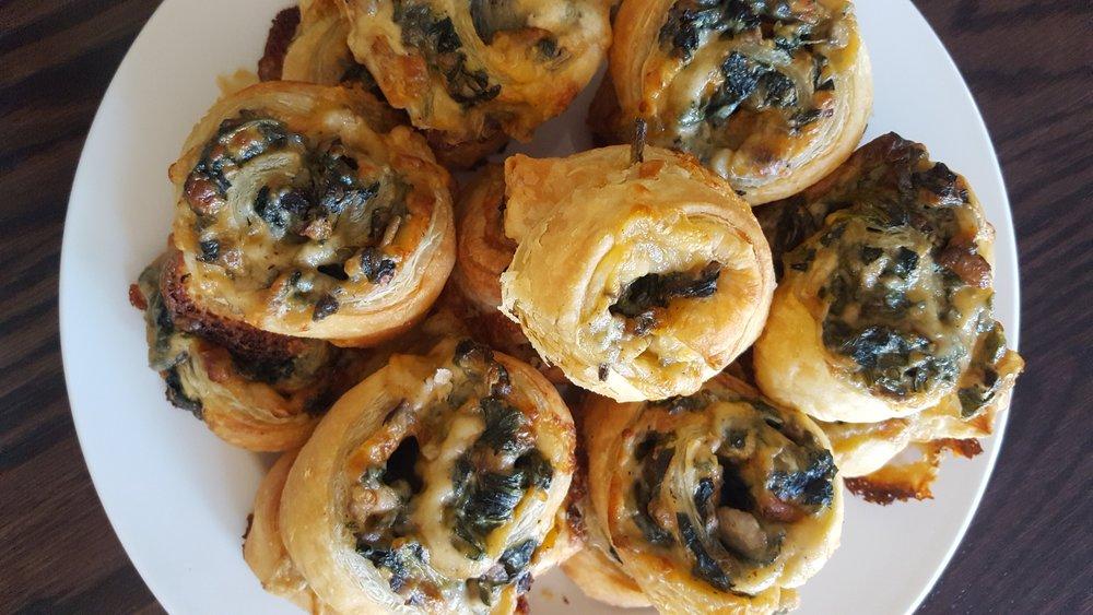 Mushroom Spinach Puff Pastry Swirl