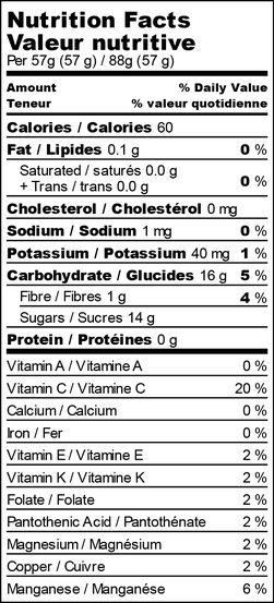 Nutrition facts for raspberry raven lemonade freezies