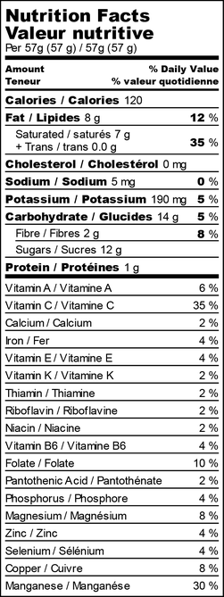 Nutrition facts for mango tiger freezie