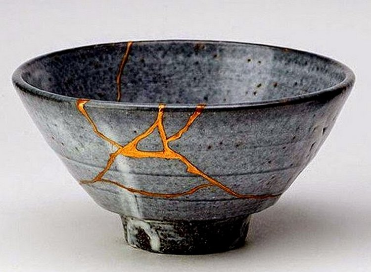 "The Imperfect Mum & The Art of Wabi-Sabi. - There is a Japanese art form called Kintsukuroi ""Golden repair"", which is essentially when broken pottery, instead of being discarded is repaired using resin mixed with powdered gold.From what I understand (and I can't make this clear enough - I am absolutely not an expert in Japanese culture or language) this process is aligned with the concept of Wabi Sabi- or perfect imperfections. Essentially treating breakage and repair as an important element of the object's history and journey instead of something that should be disguised or worse- cause it to be discarded.Can we have a bit more Wabi Sabi in our mothering?"