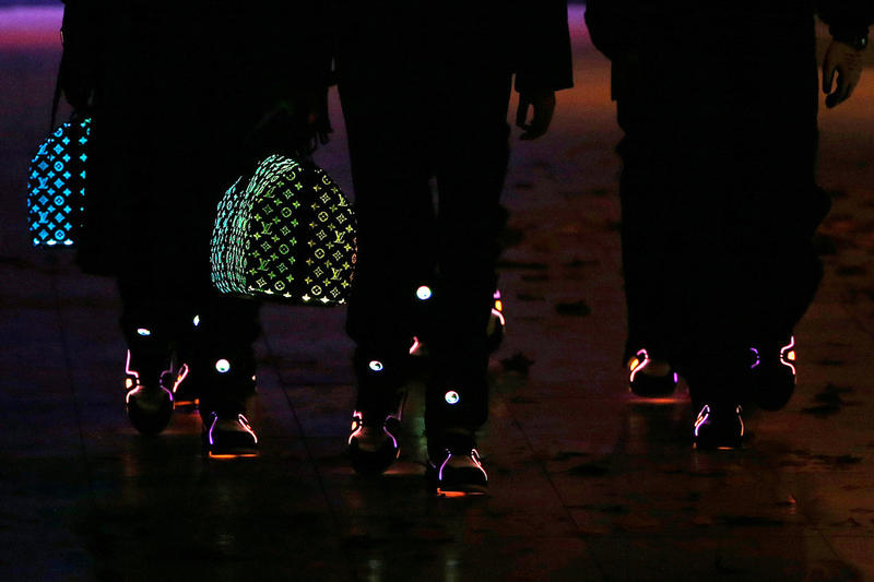 Louis Vuitton SS19 Accessories by Virgil Abloh using Fiber Optic lights that change color