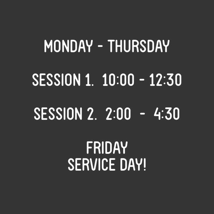 We offer classes (limited to 4-6 Act-ees) that run at two different times a day on site. On Fridays,  Act-ees meet at the location where they will be doing community service for the day.