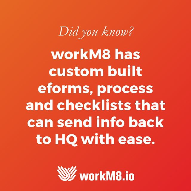 Custom built electronic forms, processes and checklists simplify the way you do business. From #vehicle checklists, to safety and OH&S signoffs, keep your staff focused on getting home safely.  Ask us how to connect your #fleet into workM8.