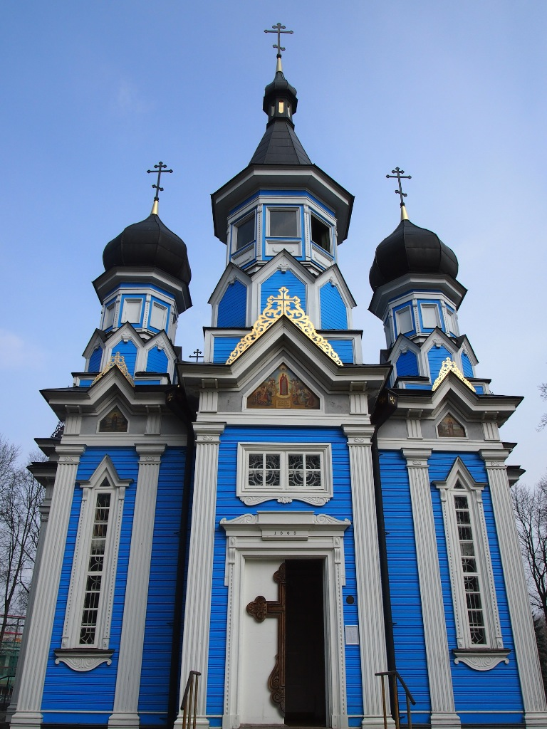 Bright colored church in Druskininkai, Lithuania