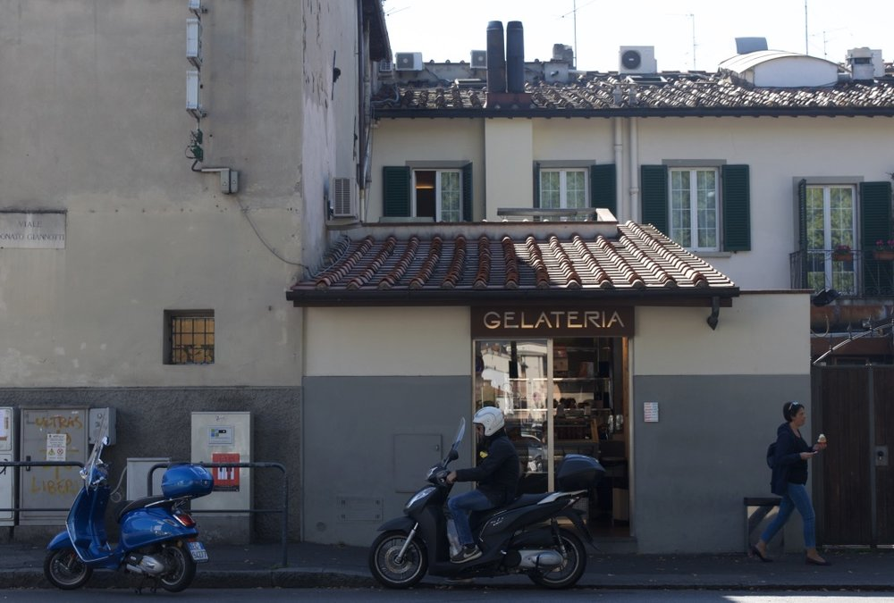 Gelateria street scene in Florence, Italy