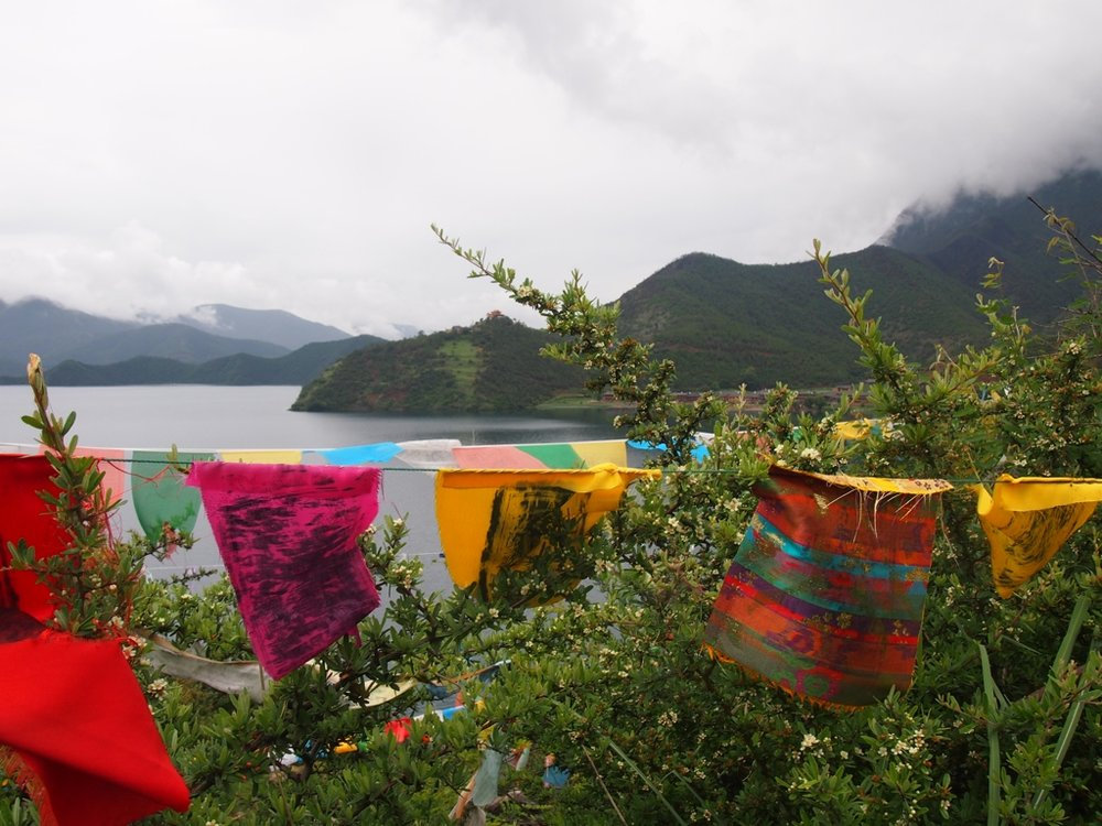 prayer flags at Lugu Lake, China