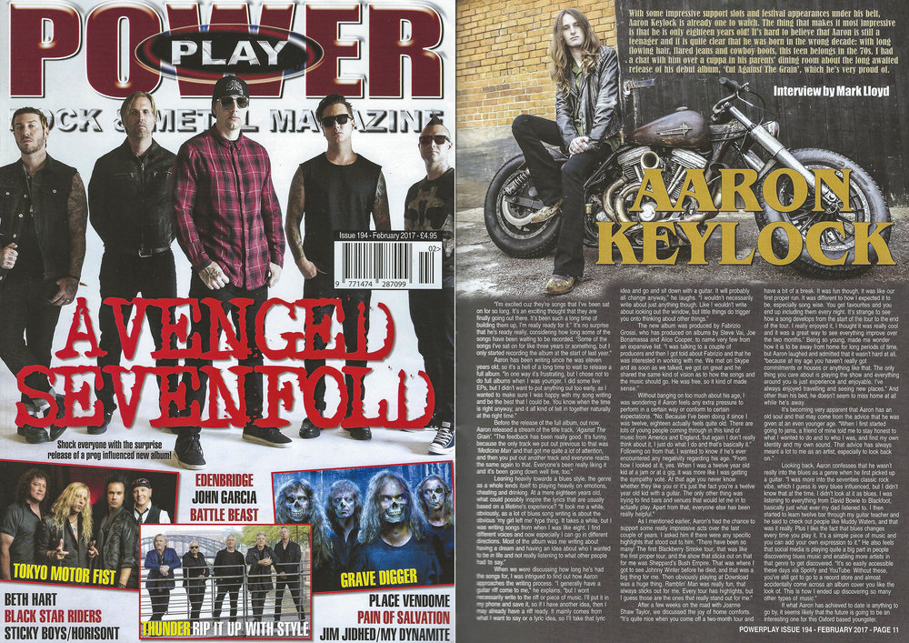 PowerPlay Magazine - Cover shot and Photo and Interview with Aaron Keylock