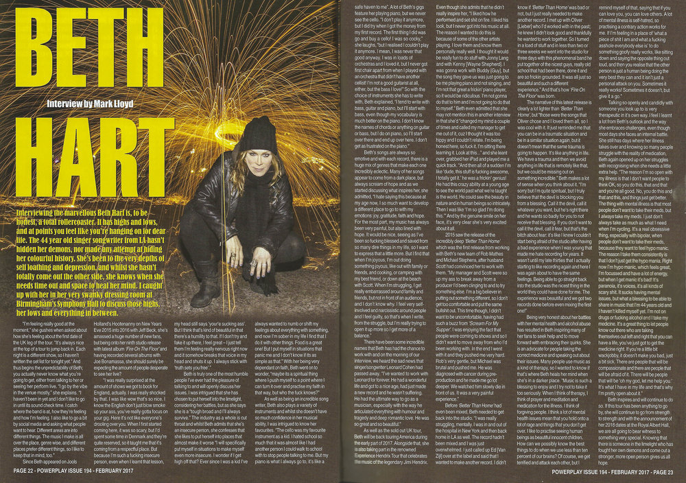 PowerPlay Magazine - Photo and Feature with Beth Hart