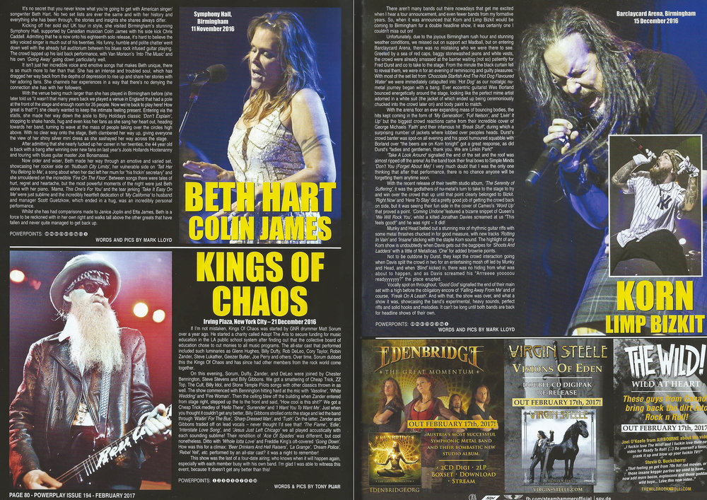 PowerPlay Magazine - Live reviews of Beth Hart and Korn