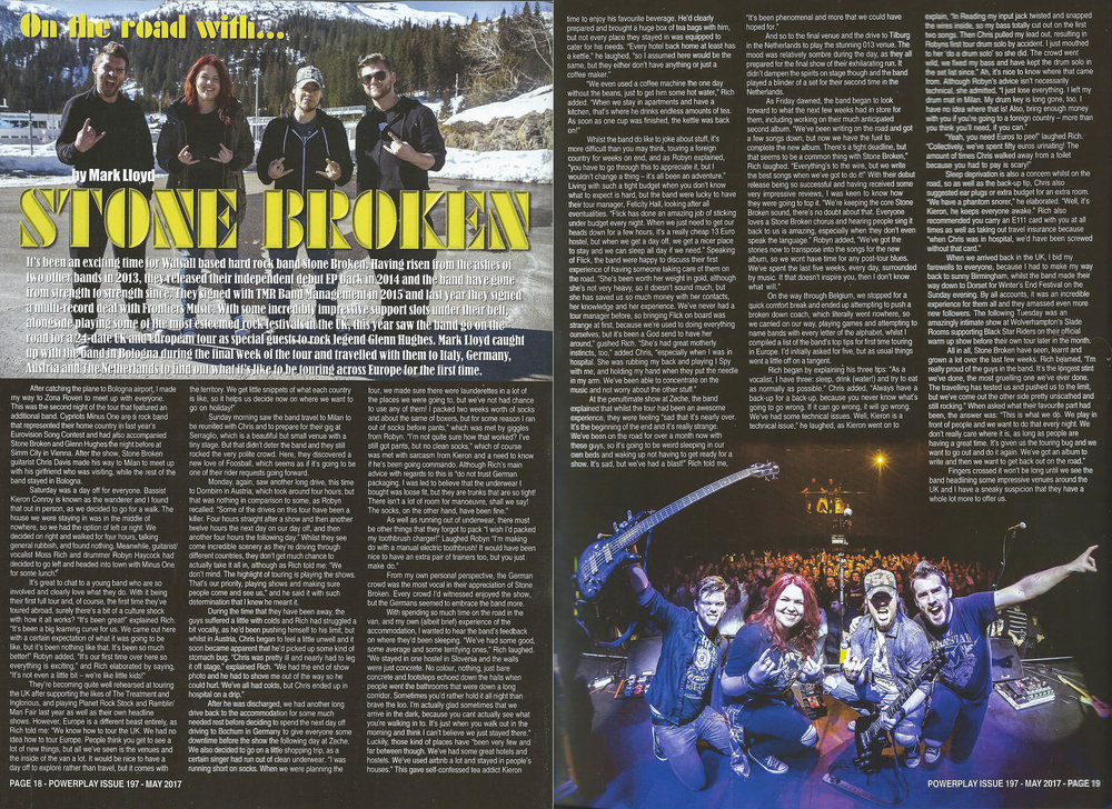 PowerPlay Magazine - 'On Tour' with Stone Broken feature